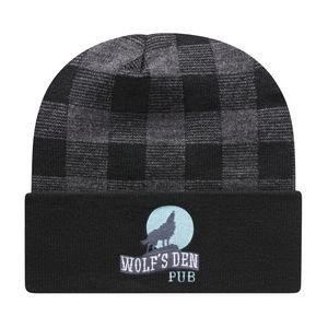 Plaid Knit Cap w/Cuff