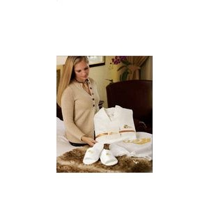 Cobblestone Mills Waffle Weave Robe & Slippers Gift Set w/Card & Ribbon